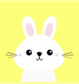 white bunny rabbit funny head baface big ears vector image vector image