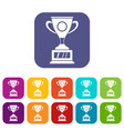 winner cup icons set flat vector image vector image