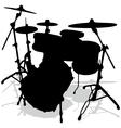 Drum silhouettes music instrument vector image