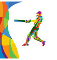 abstract cricket player bright color vector image vector image