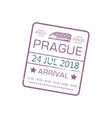 arrival visa stamp to prague on train isolated vector image vector image