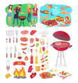 bbq party posters and icons vector image