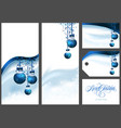 blue christmas greetings set vector image vector image