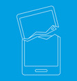 broken phone icon outline style vector image vector image