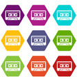 cassette tape icon set color hexahedron vector image vector image