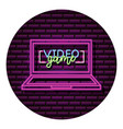 computer gadget neon video game wall vector image