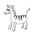cute cartoon zebra contourink vector image vector image
