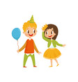 cute girl and boy at birthday party boy in party vector image vector image