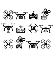 Drone quadcopter with camera and controller icons vector image