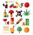 drugs addiction marijuana and heroine cocaine and vector image