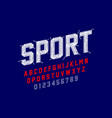 embroidery font sports style stitched with thread vector image vector image