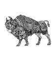 entangle stylized black bison vector image vector image
