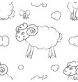 fuzzy sheep flying in the clouds vector image vector image