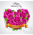 Greeting card Happy Valentines Day heart of rose vector image vector image