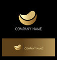 half round abstract gold logo vector image vector image