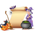 halloween sign with witch stirring magic potion vector image