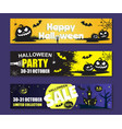 happy halloween banner template set paper vector image