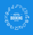hotel booking round design template line icon vector image vector image