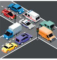 isometric city transport template vector image vector image