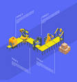 isometric conveyor elements infographics vector image