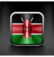Kenya Flag square glossy button national white vector image vector image