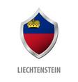 liechtenstein flag on metal shiny shield vector image