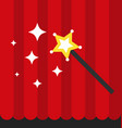 magic wand with red curtain flat style vector image vector image