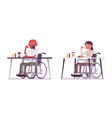 male and female young wheelchair user eating food vector image