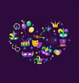 mardi gras icon set in heart shape template for vector image vector image