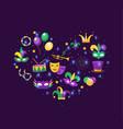 mardi gras icon set in heart shape template vector image vector image