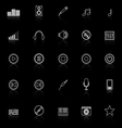 Music line icons with reflect on black background vector image