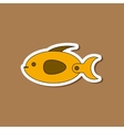 paper sticker on stylish background Kids toy fish vector image vector image