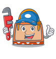 plumber hand bag mascot cartoon vector image