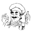 Professional chef restaurant line art vector image vector image