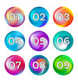 rainbow color buttons with numbers vector image vector image