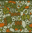 Raw vegan seamless pattern vector image