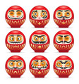 red daruma japanese dolls set vector image