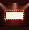 retro signboard with lights advertising banner vector image vector image