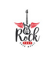 rock music fest logo emblem for rock festival vector image vector image