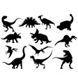 set dinosaur silhouettes collection extinct vector image vector image