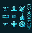 set quadrocopter blue glowing neon icons vector image
