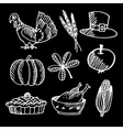 set thanksgiving chalk sketches on blackboard vector image