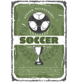 soccer or football sport game retro grunge poster vector image vector image