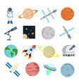 space icons set on white background for graphic vector image