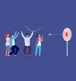 teamwork success metaphor target goal focus vector image