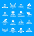 thanksgiving day logo set simple style vector image vector image