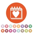 The calendar icon Valentines day symbol vector image vector image