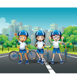 Three kids riding bike on the road vector image vector image