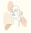 trendy outline woman portrait in pastel tones vector image