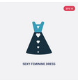 two color sexy feminine dress in black icon from vector image vector image